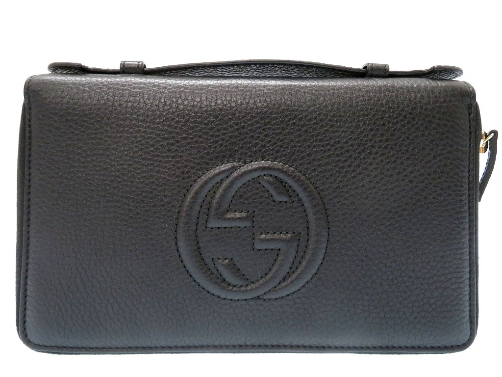 0e1bbd1df0a25b Unused Gucci Soho leather travel case long wallet bag black men 0110GUCCI  ...