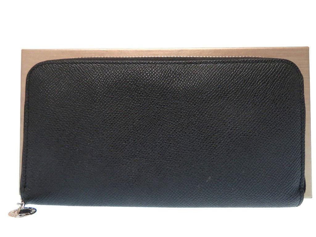 美品 ブルガリ クラシコ ラウンドファスナー 長財布 レザー ブラック 0373【中古】BVLGARI メンズ