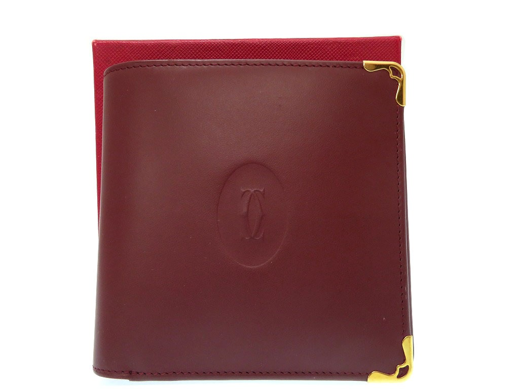 新品同様 カルティエ マスト 二つ折り 財布 レザー ボルドー 0219【中古】CARTIER メンズ