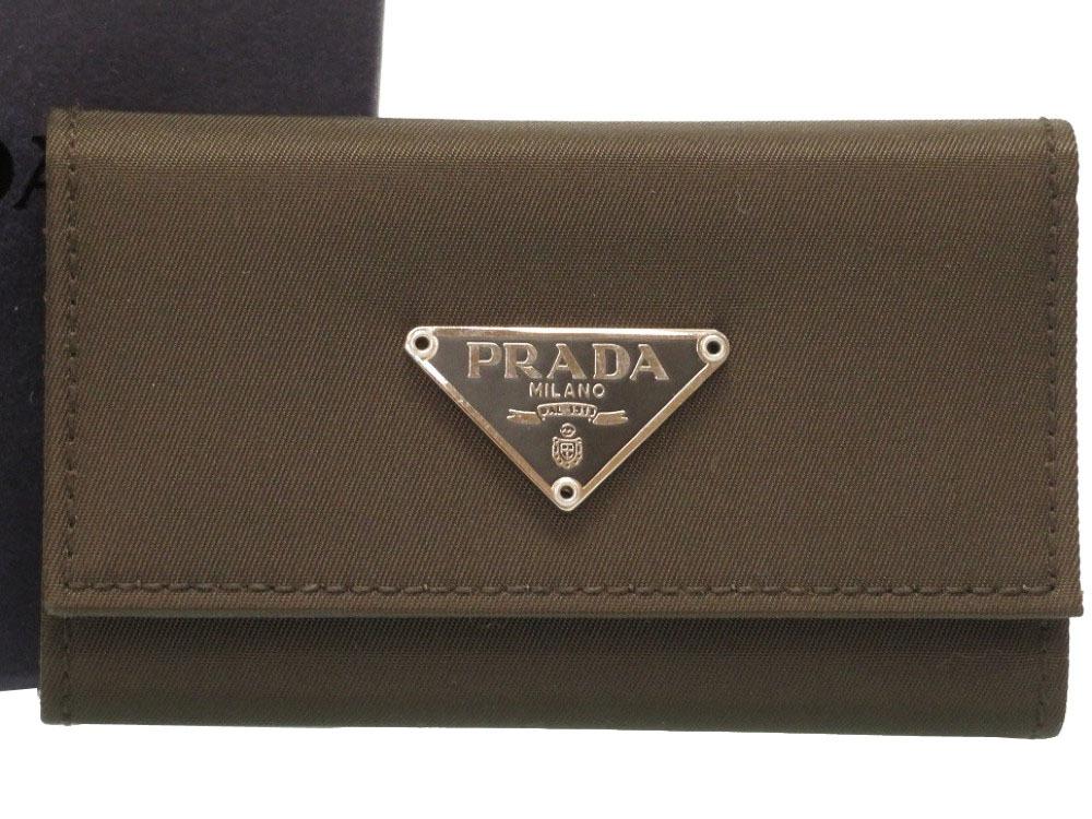 未使用 プラダ ナイロン カーキ 三角プレート M222 6連 キーケース 0350 【中古】 PRADA メンズ