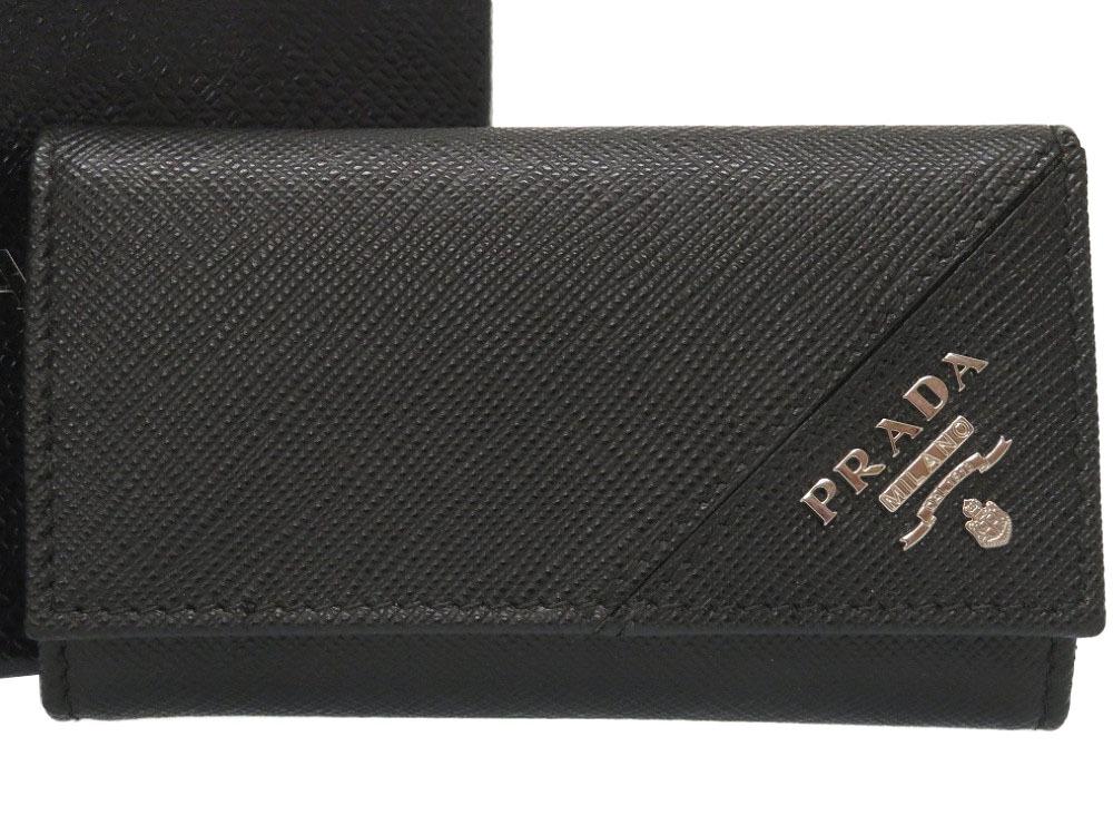 未使用 プラダ サフィアーノレザー ブラック 6連 キーケース 2PG222 ロゴ 黒 0063 【中古】 PRADA メンズ
