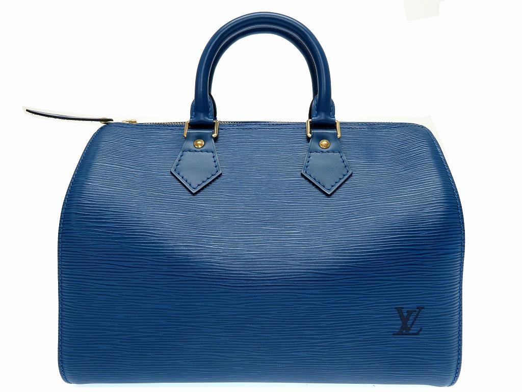 新品同様 ルイヴィトン エピ スピーディ 25 M43015 ハンドバッグ ブルー LV 0211【中古】LOUIS VUITTON レディース