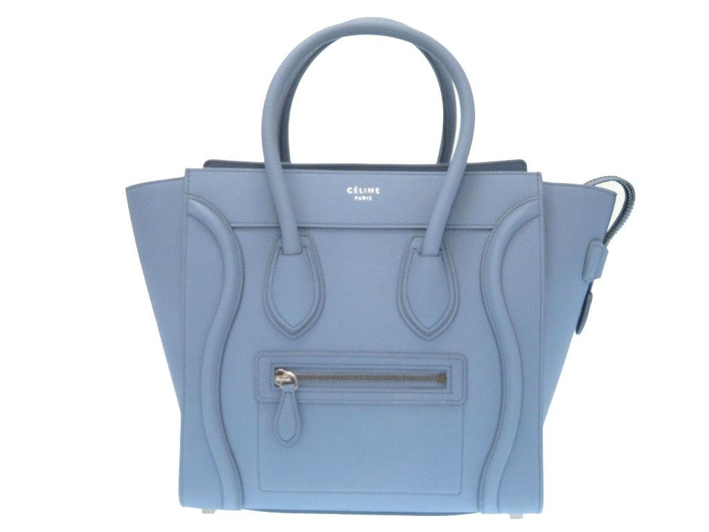 Like New Celine Luggage Micro Per Handbag 167793aql Light Blue 0112celine