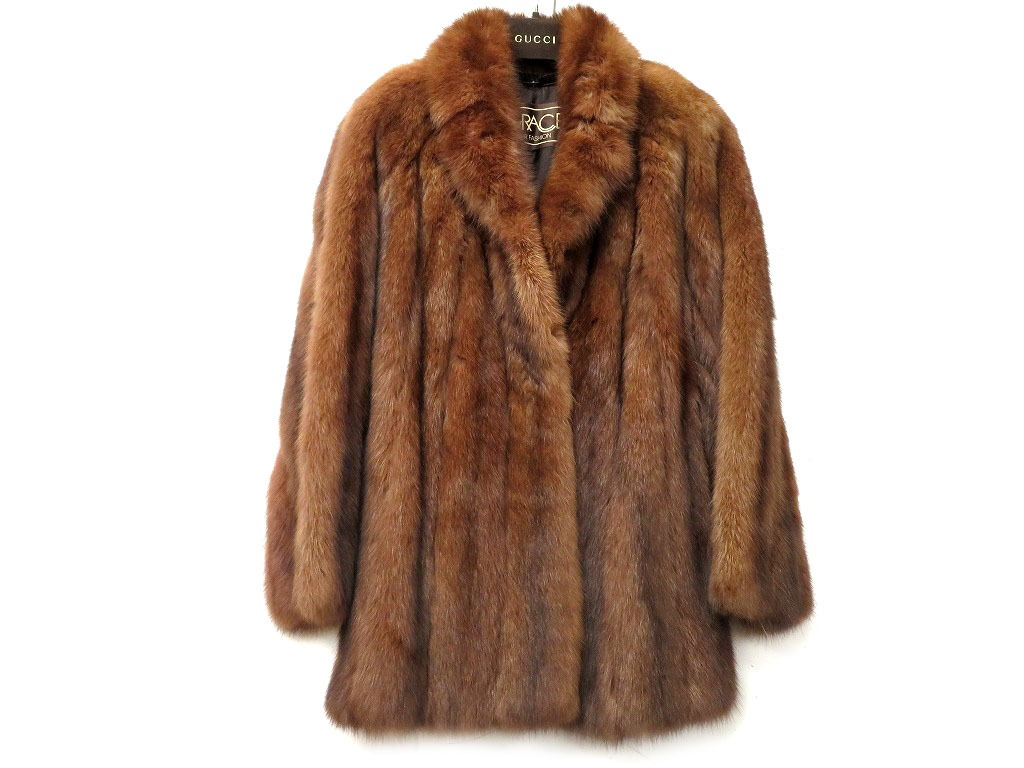 美品 グレース セーブル毛皮コート ステンカラーコート 8844/セーブル ブラウン 0123【中古】Grace レディース