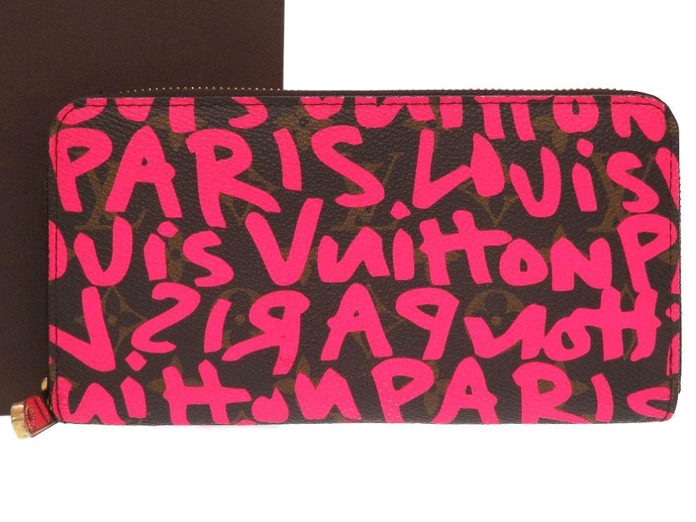 美品 ルイ ヴィトン モノグラムグラフィティ ジッピーウォレット フューシャ ピンク M93710 ラウンドファスナー 長財布 財布 LV 0261 【中古】 LOUIS VUITTON