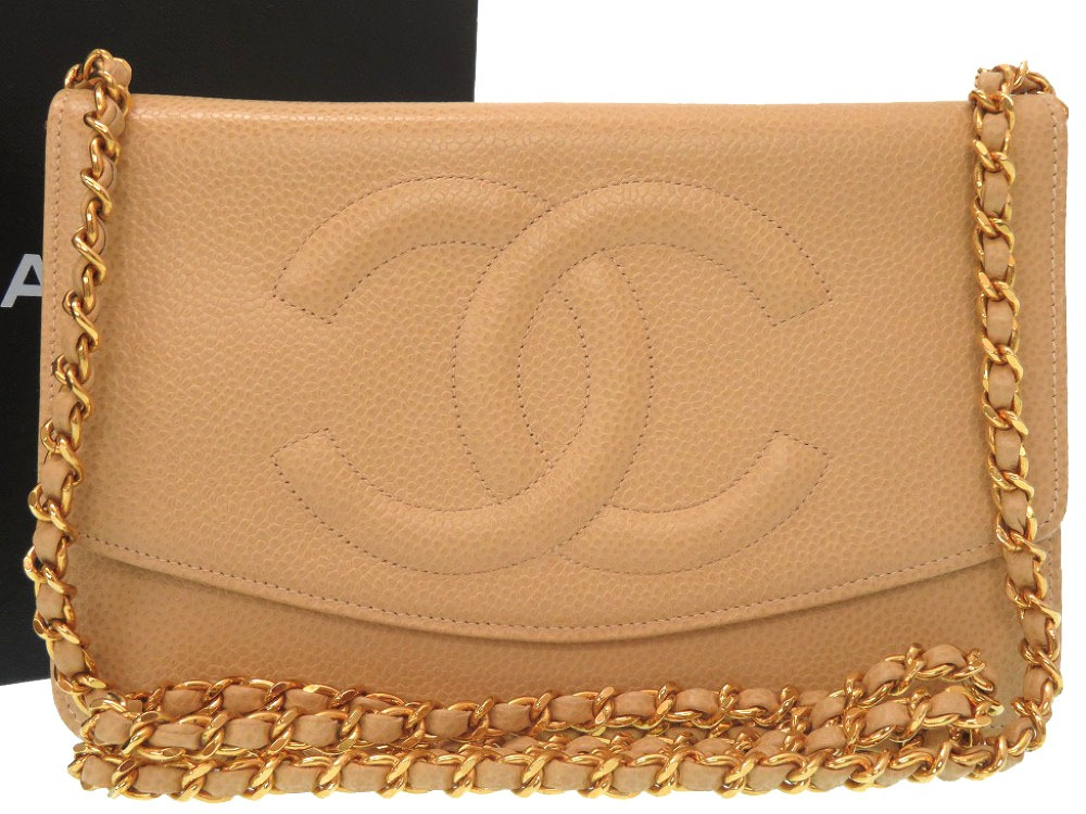 34d581d210c Beautiful article Chanel caviar skin chain wallet beige here mark shoulder  bag bag tea 0271 CHANEL ...
