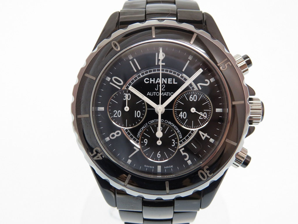 美品 シャネル J12 クロノグラフ 自動巻き メンズ 腕時計 ブラック セラミック 黒文字盤 オートマチック 0052【中古】CHANEL メンズ