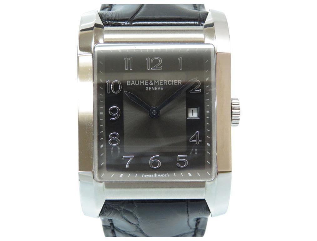 新品同様 ボーム&メルシェ HAMPTON ハンプトン スクエア クオーツ 腕時計 10019 ブラック 黒文字盤 0075【中古】Baume & Mercier メンズ