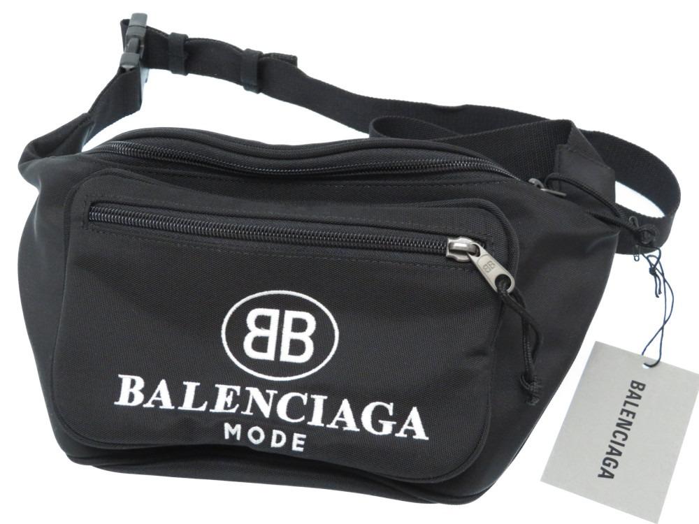 未使用 バレンシアガ ウエスト ポーチ バッグ ナイロン ボディバッグ ブラック 黒 0168【中古】BALENCIAGA メンズ