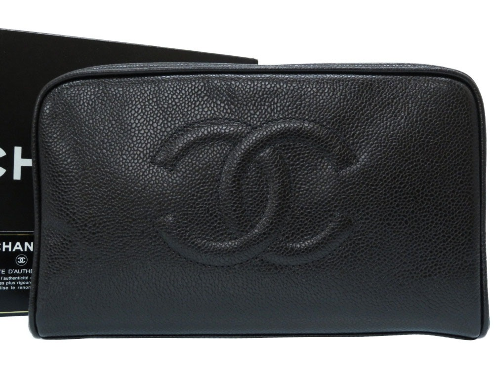 c2c4a330e971b2 Like-new Chanel caviar skin porch clutch bag black black 0198CHANEL serial  number seal card existence