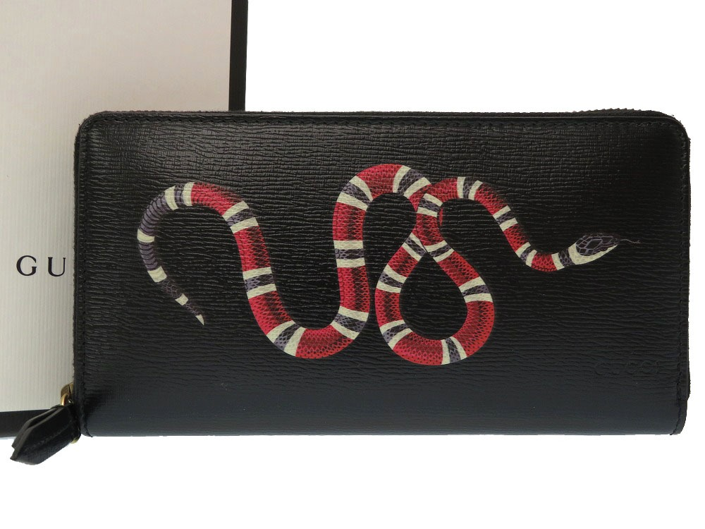cf153cf9f2a Unused Gucci snake print leather zip around wallet black 451273 long wallet  wallet black snake 0209 ...