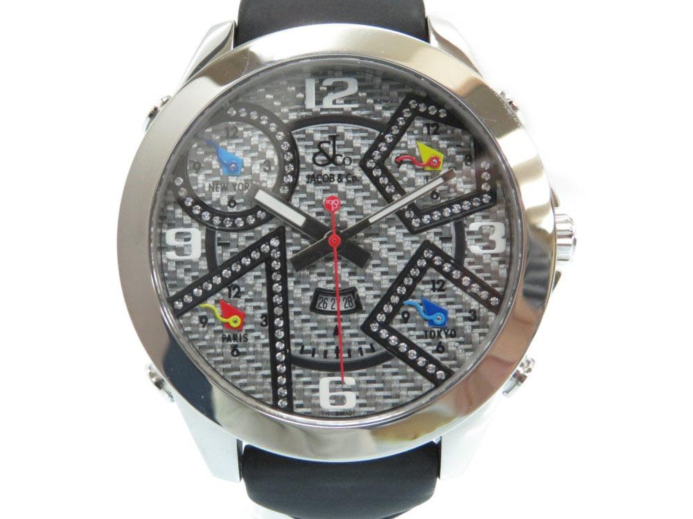 新品同様 ジェイコブ ファイブタイムゾーン クオーツ 腕時計 JC-95DA ラバーベルト グレー/ブラック 黒 0004【中古】JACOB&CO メンズ