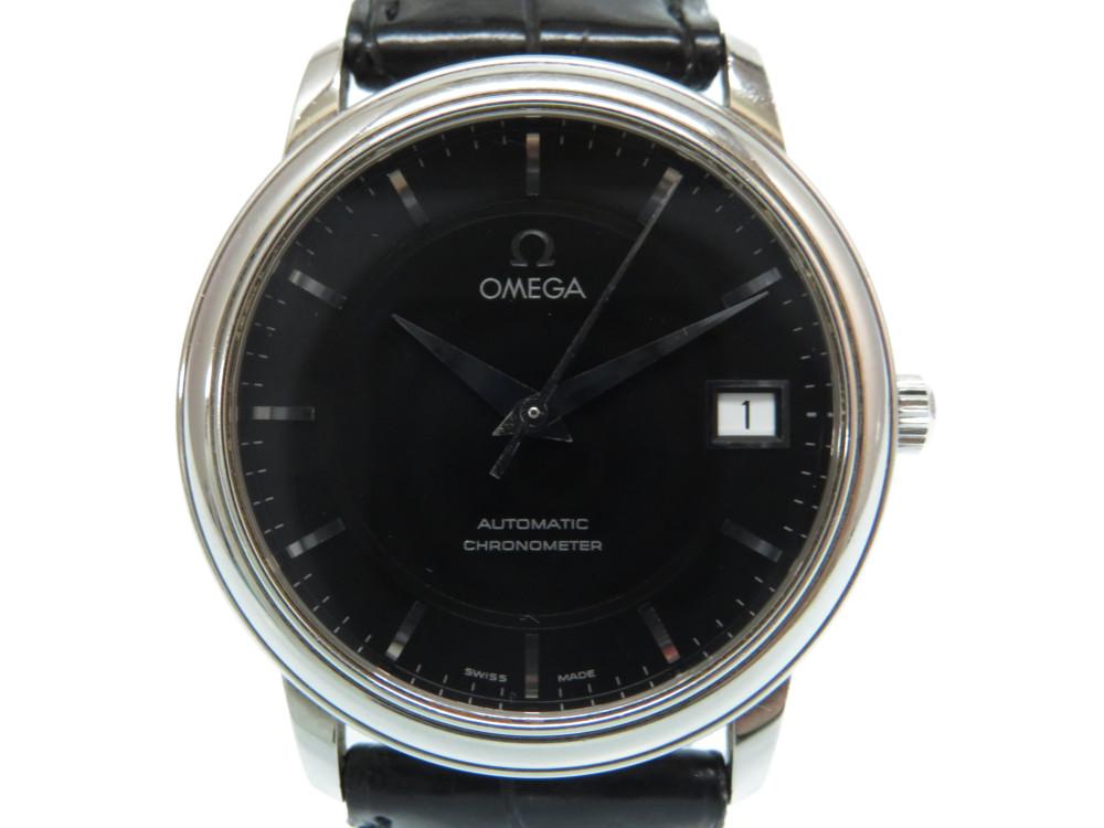 美品 オメガ プレステージ クロノメーター 自動巻き 腕時計 ブラック 黒文字盤 0001【中古】OMEGA メンズ