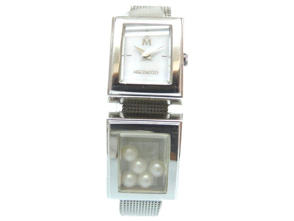 美品 ミキモト クオーツ 腕時計 ステンレススチール/真珠 シルバー 0003【中古】MIKIMOTO レディース