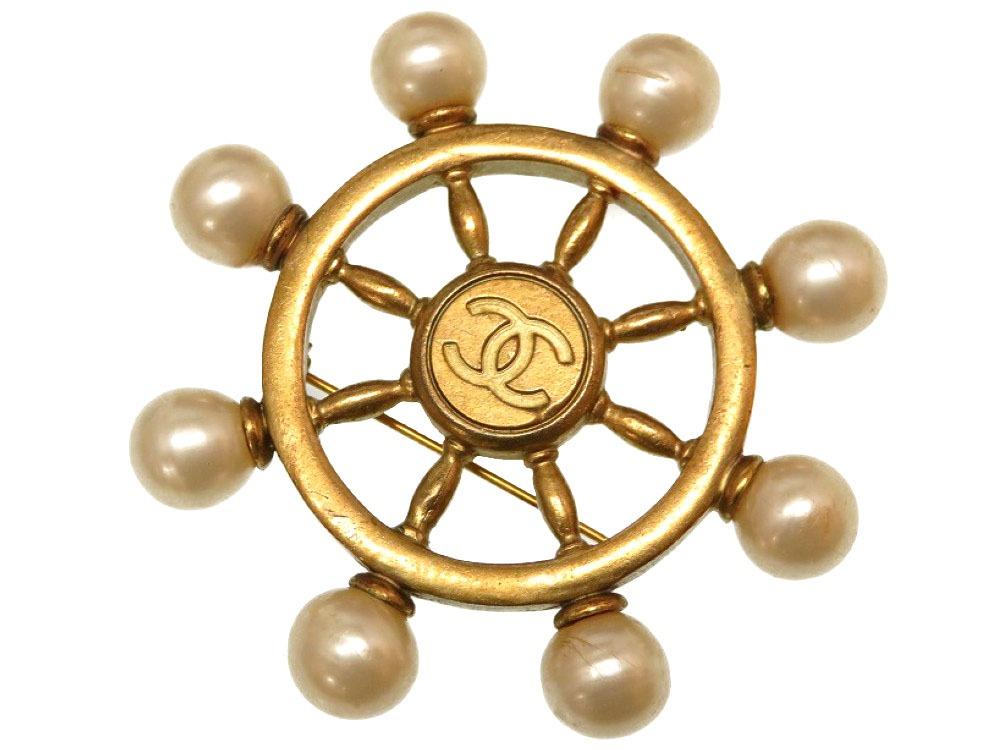 シャネル 舵輪 ハンドル ココマーク ヴィンテージ フェイクパール メタル ゴールド ブローチ 0088 【中古】 CHANEL