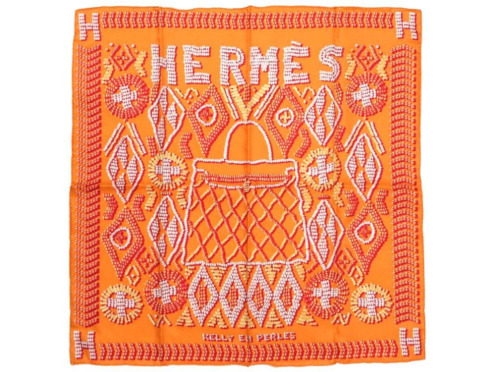未使用 エルメス カレ70 KELLY EN PERLES 真珠でできているケリー シルク100% オレンジ スカーフ 0081 【中古】 HERMES
