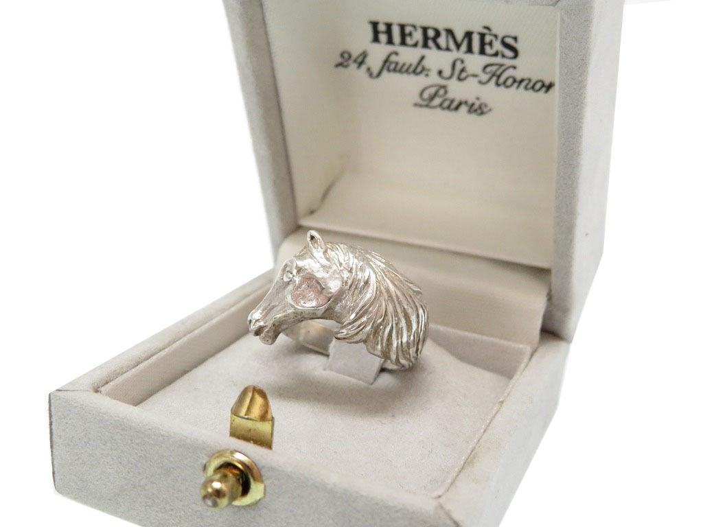 エルメス シルバー925 ヴィンテージ ホース リング 指輪 アンティーク リングゲージ計測11号 0063 HERMES:LIFE TIME店