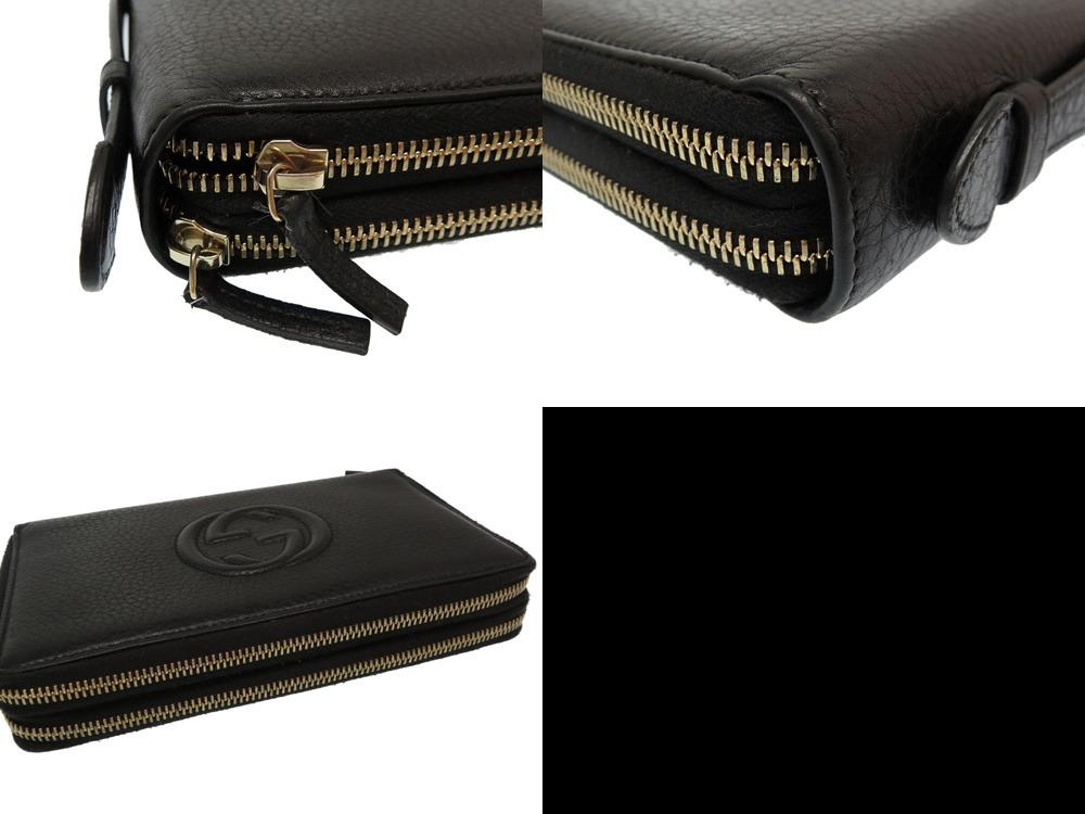 8c73bc7cc39508 0078 beautiful article Gucci leather Soho 395,473 rounds fastener travel  case document case long wallet black black men GUCCI