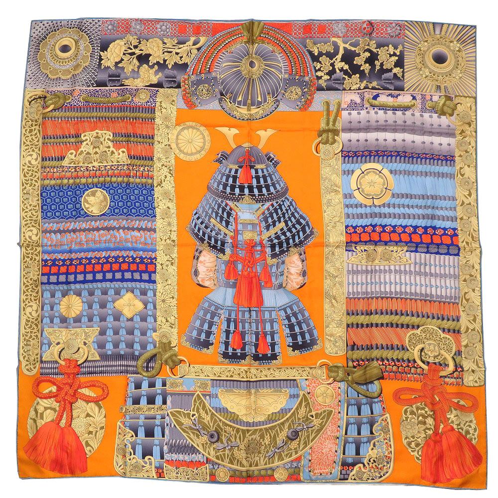 未使用 エルメス カレ140 Parures de Samourais 侍の鎧兜 シルク オレンジ スカーフ カブト 0077 【中古】 HERMES