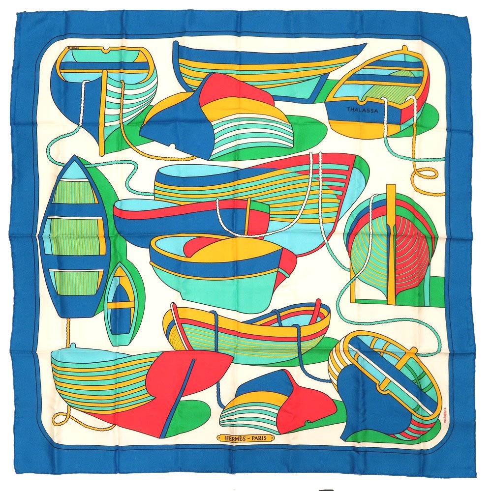 新品同様 エルメス カレ90 THALASSA ボート柄 シルク ブルー スカーフ 青 0083 【中古】 HERMES