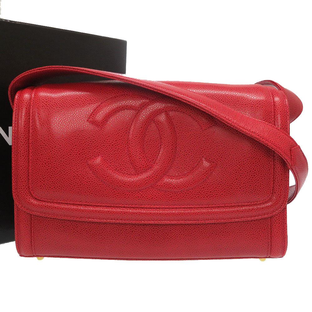 美品 シャネル キャビアスキン レッド 2番台 ココマーク ショルダーバッグ バッグ 赤 0041 【中古】 CHANEL