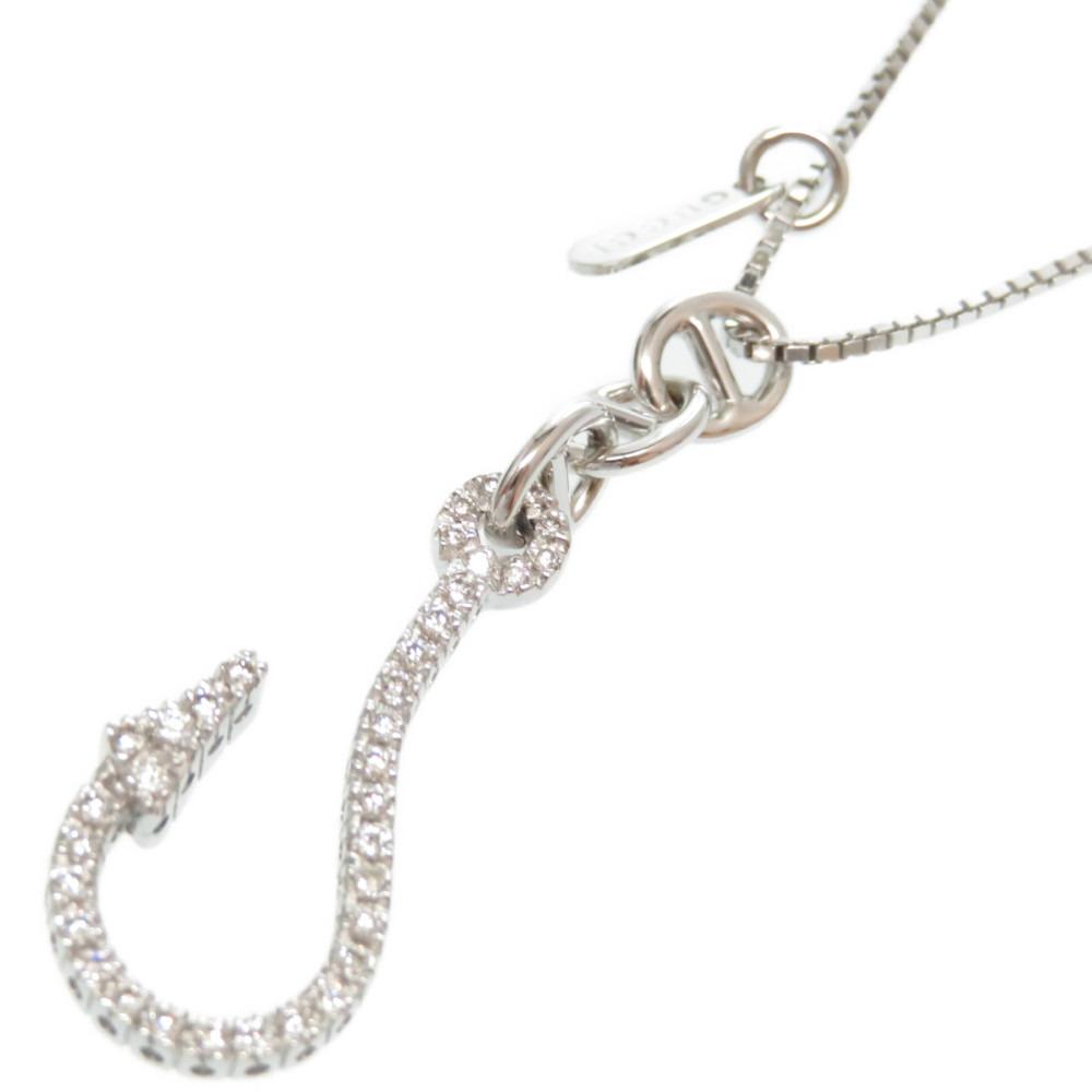 10%OFF お買い得品 新品同様 グッチ フィッシュフック K18WG ダイヤモンド ネックレス K18ホワイトゴールド 絶品 アクセサリー 0079 GUCCI 中古 ダイヤ