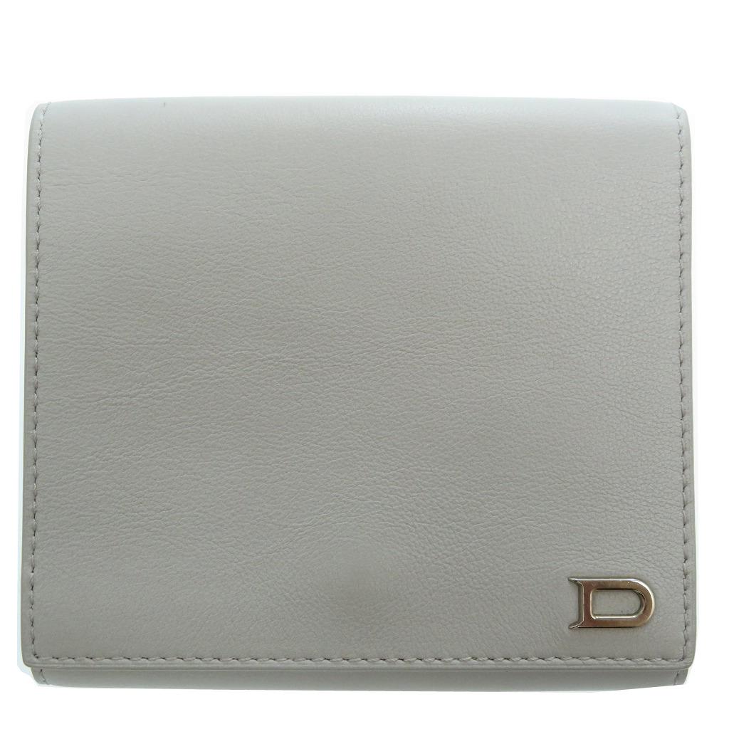 新品同様 デルボー レザー Wホック 二つ折り 財布 グレー 0217【中古】DELVAUX