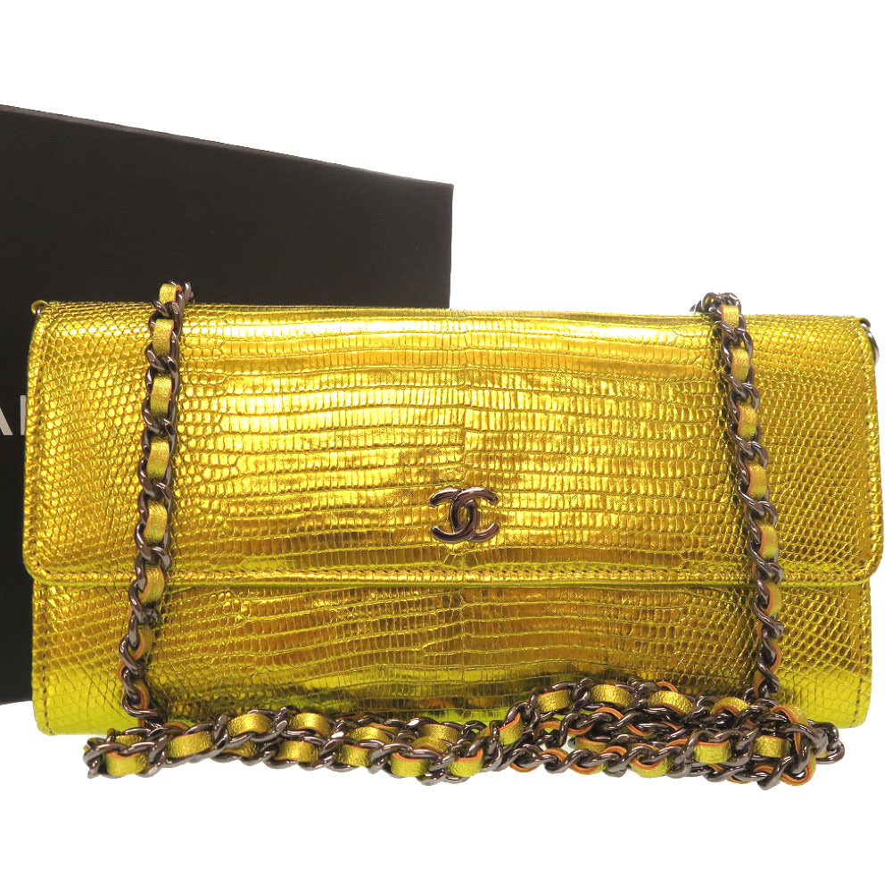 新品同様 シャネル リザード ゴールド チェーンウォレット 長財布 CHANEL 通販 中古 0242 金 財布 男女兼用