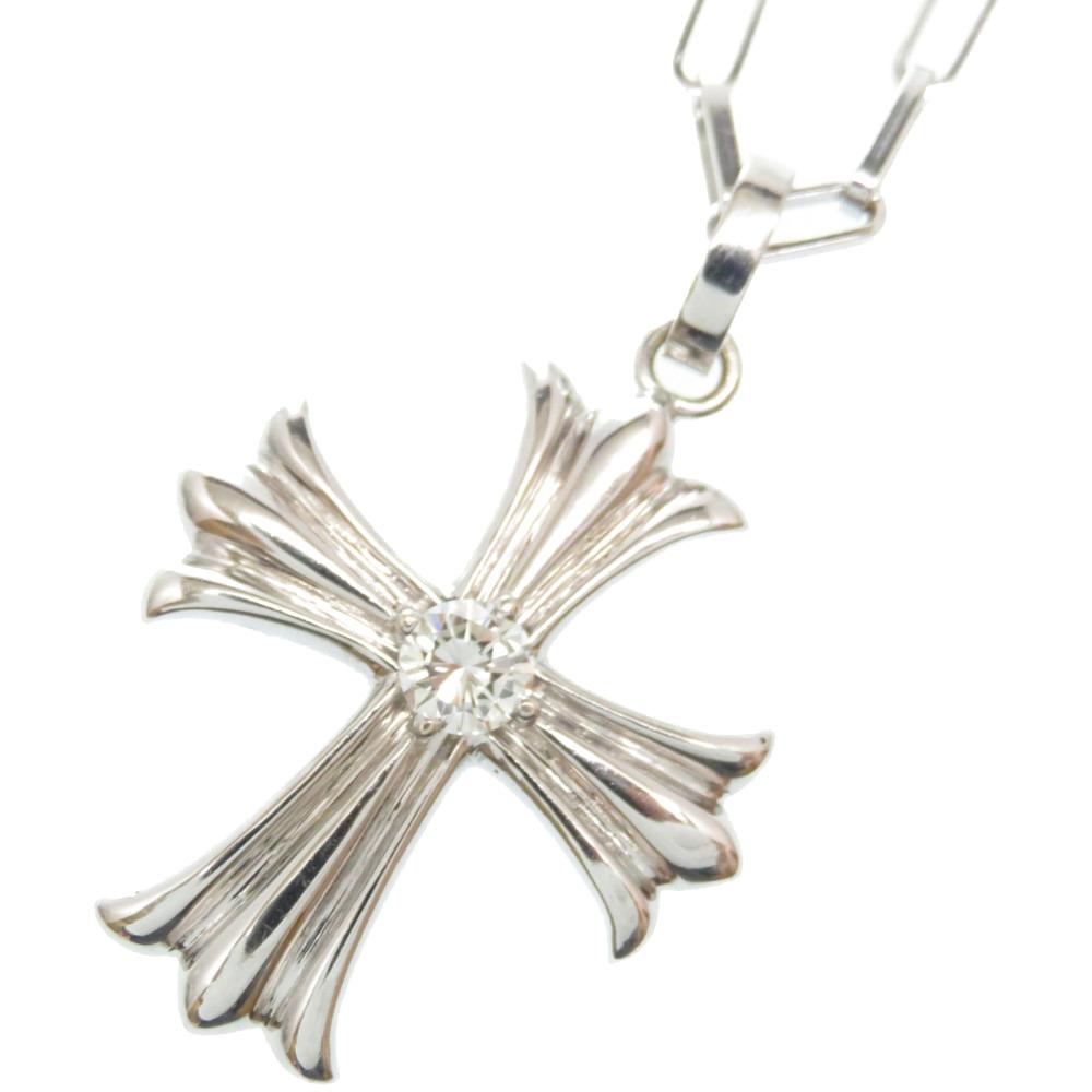 美品 ダイヤモンド 0.43ct K18WG クロス ペンダント ネックレス ホワイトゴールド/ダイヤ アクセサリー 0011【中古】