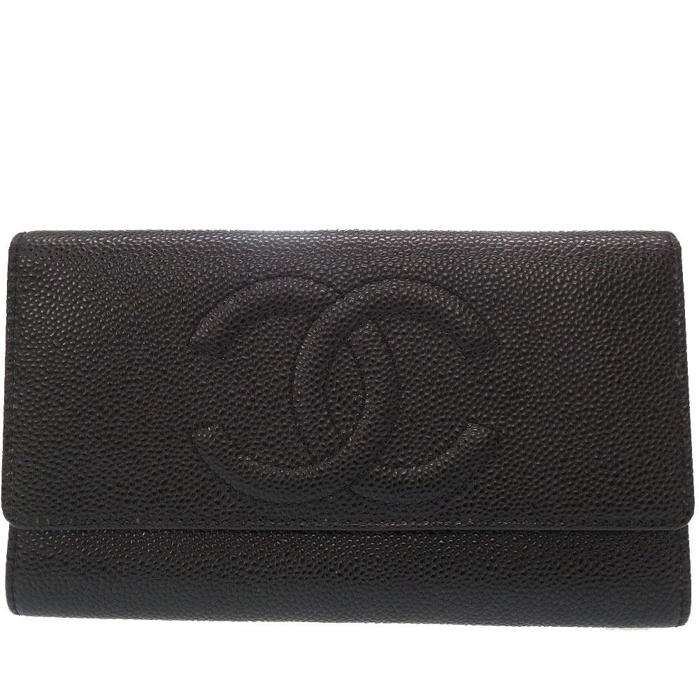美品 シャネル キャビアスキン ココマーク 二つ折り 長財布 ブラック 0027【中古】CHANEL