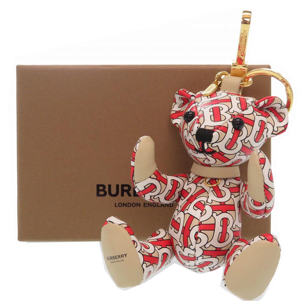 未使用 バーバリー ロンドン 総柄 熊 キーホルダー レザー 0022【中古】BURBERRY