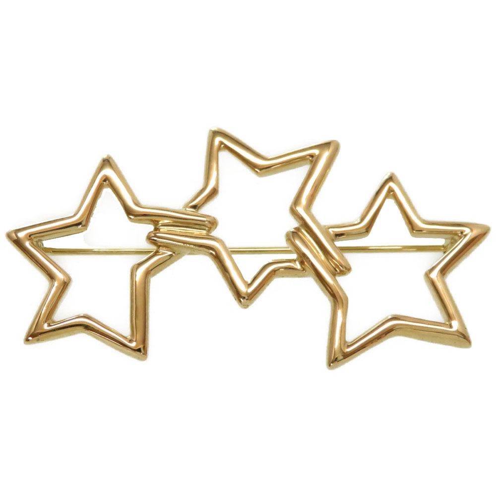新品同様 ティファニー K18YG トリプルスター ブローチ 750 イエローゴールド アクセサリー 0077【中古】TIFFANY&Co.