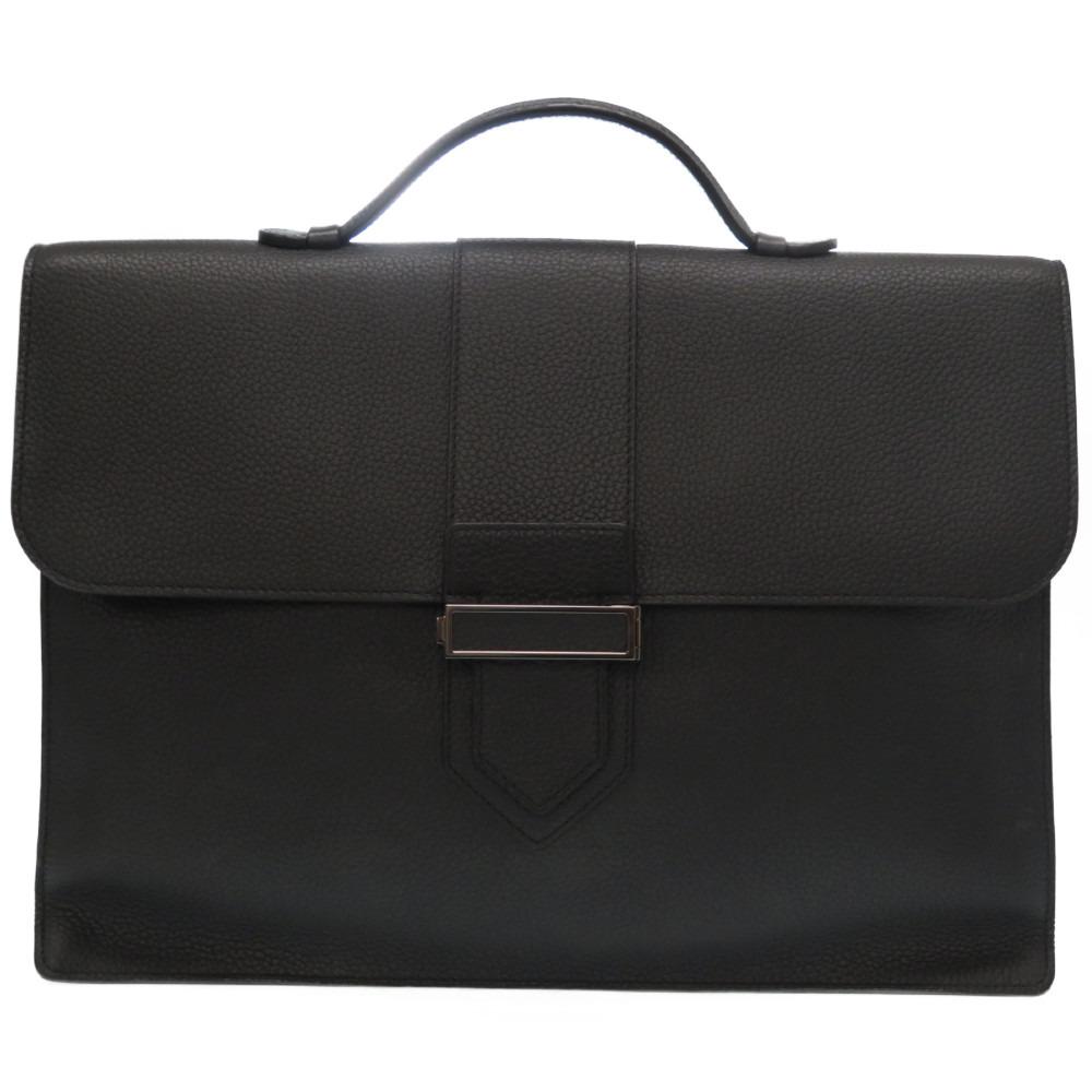 未使用 デルボー プレッセ2(Presse 2) レザー ブリーフケース ビジネスバッグ ブラック 黒 0032【中古】DELVAUX メンズ