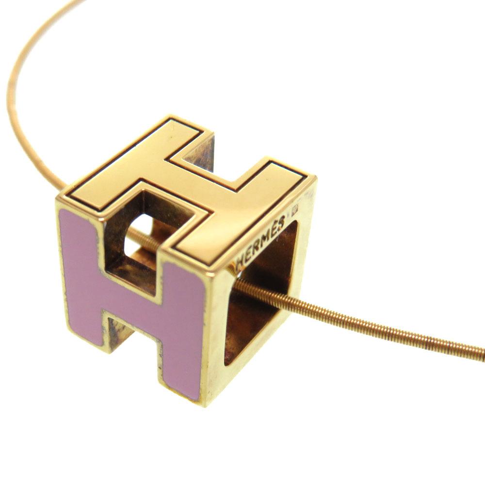 エルメス Hキューブ カージュドアッシュ ネックレス メタル ピンク/ゴールド アクセサリー 0107【中古】HERMES レディース