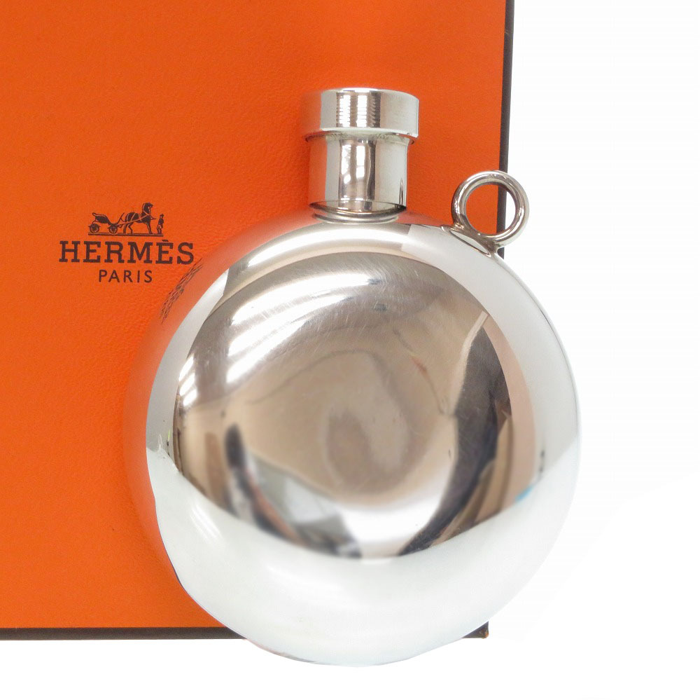 美品 エルメス シルバー スキットル ウイスキー ボトル シルバー925/銀製品 0062【中古】HERMES