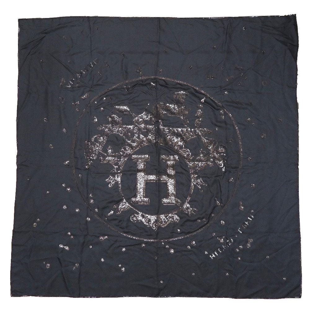美品 エルメス カレ140 馬車 刺繍 ビジュー ビーズ ネイビー シルク100% スカーフ 紺 0062 【中古】 HERMES