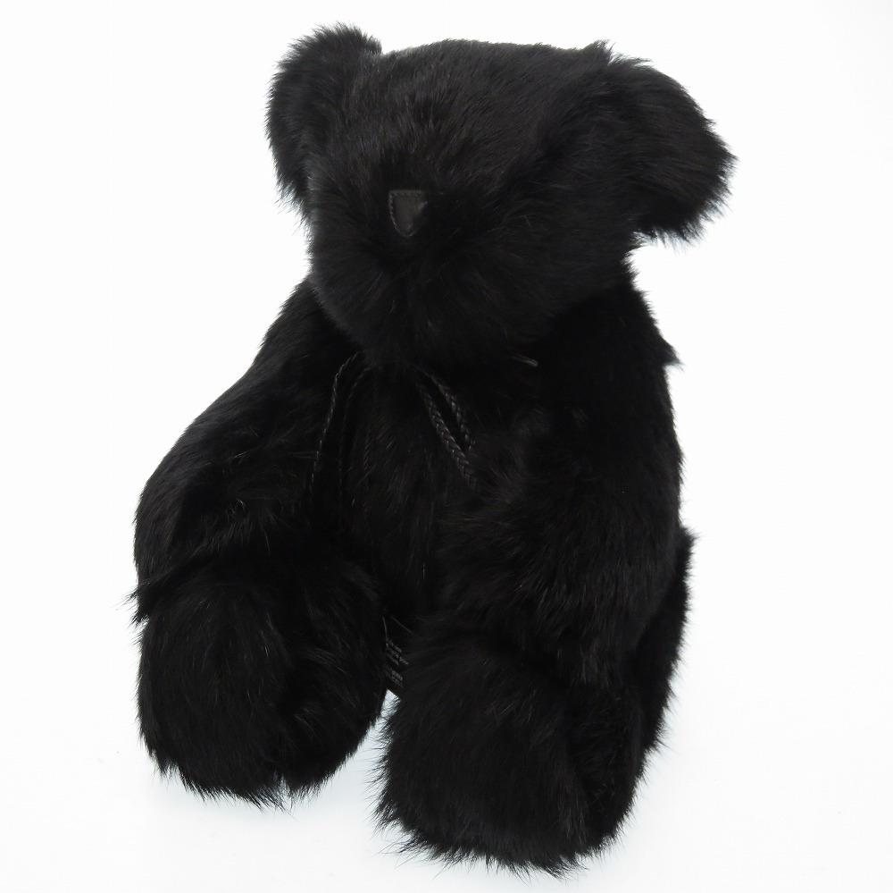 未使用 グッチ テディベア ファー ブラック 期間限定今なら送料無料 クマ 開催中 0160 黒 ぬいぐるみ 中古 GUCCI