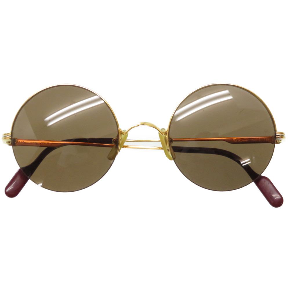 美品 カルティエ 丸型 サングラス アイウェア 眼鏡 メガネ ブラウン 0173【中古】CARTIER