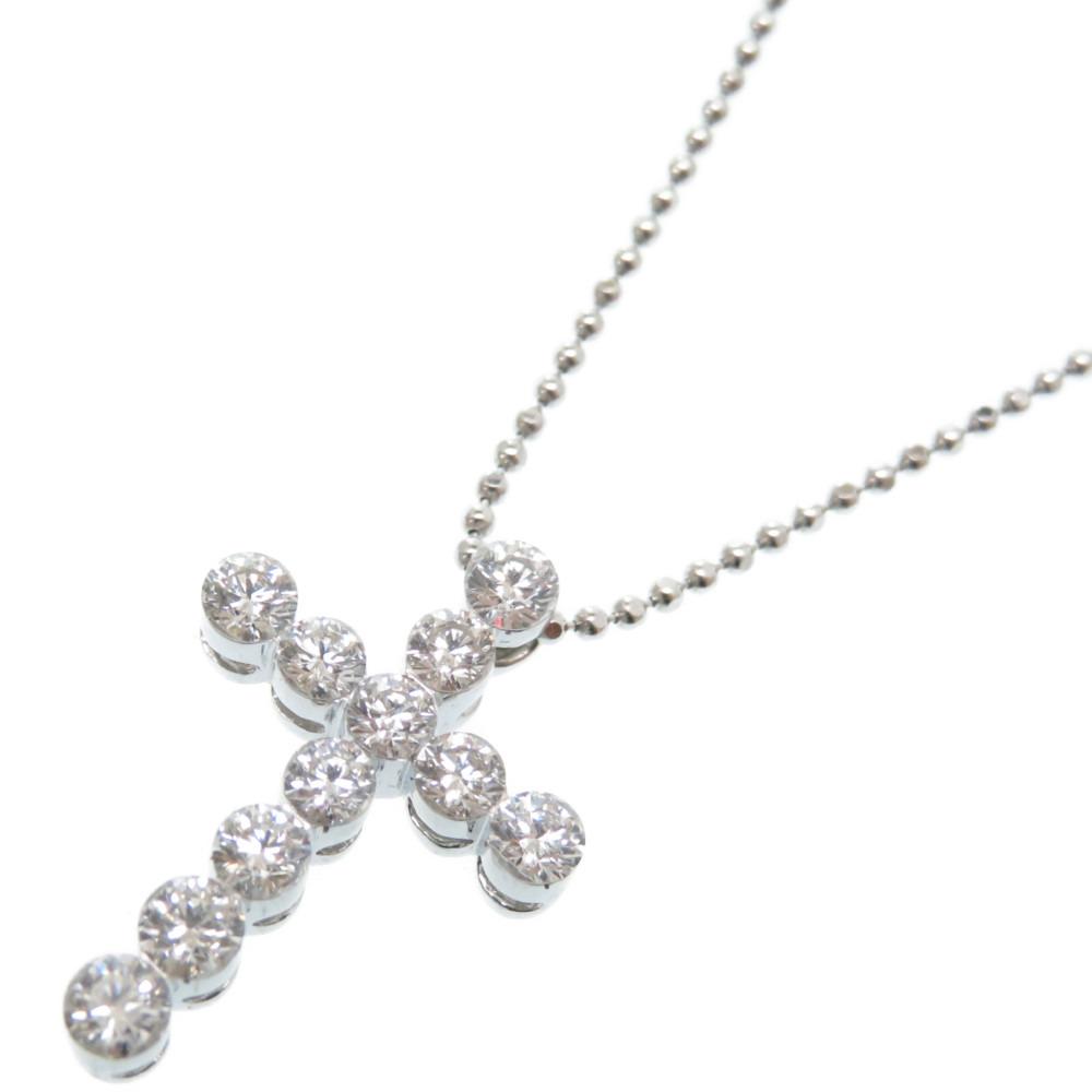 新品同様 ダイヤモンド 1.00ct K18WG クロス ネックレス プラチナチェーン Pt850 アクセサリー 0002【中古】レディース