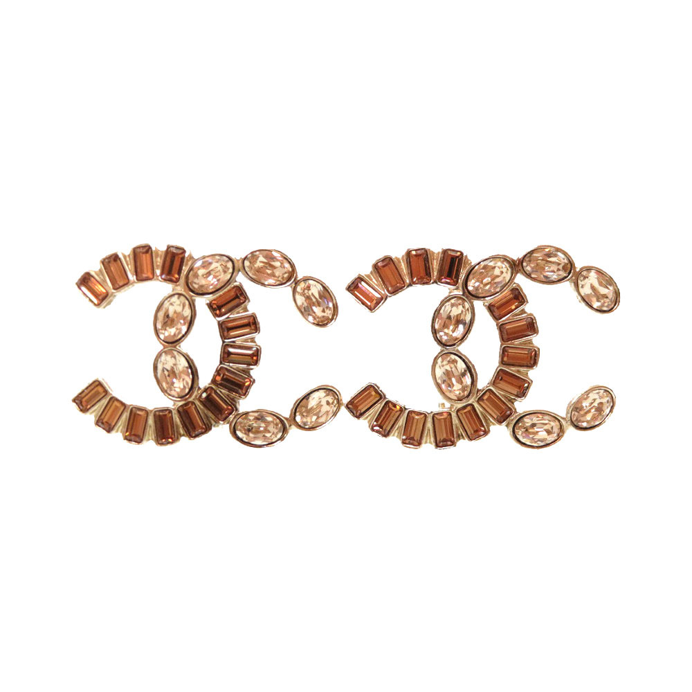 美品 シャネル ストーン ゴールド ブラウン ココマーク B17 イヤリング アクセサリー 0051 【中古】 CHANEL