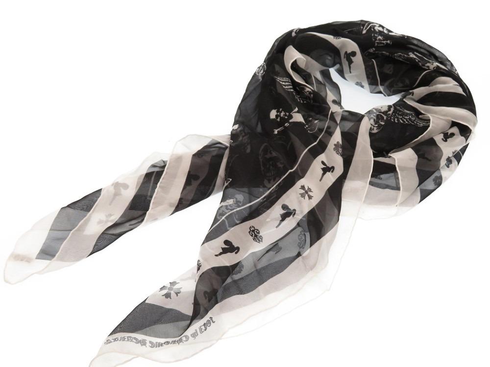 美品 クロムハーツ FOTI シルク スカーフ スカル 約100cm カレ ブラック 黒 0223【中古】CHROME HEARTS