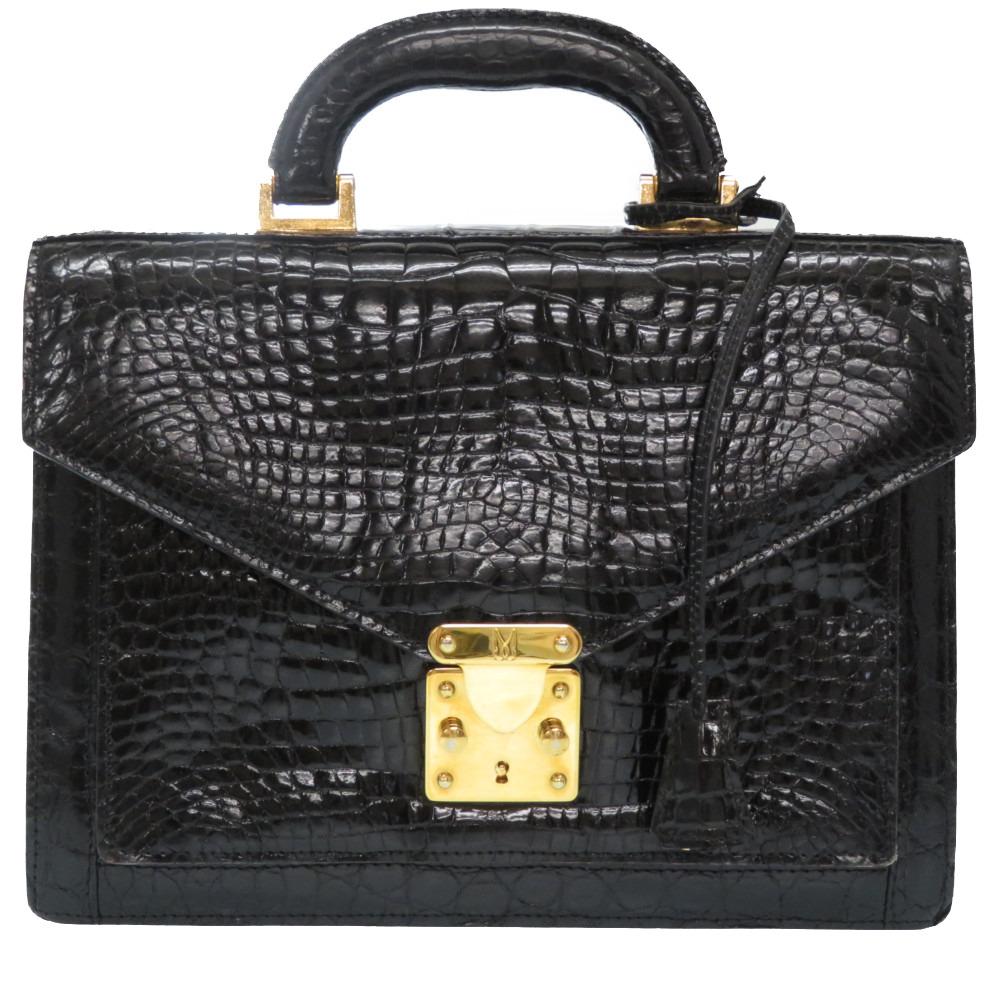 モレスキー クロコダイル ビジネスバッグ ハンドバッグ クロコ ブラック 黒 ゴールド金具 0272【中古】MORESCHI