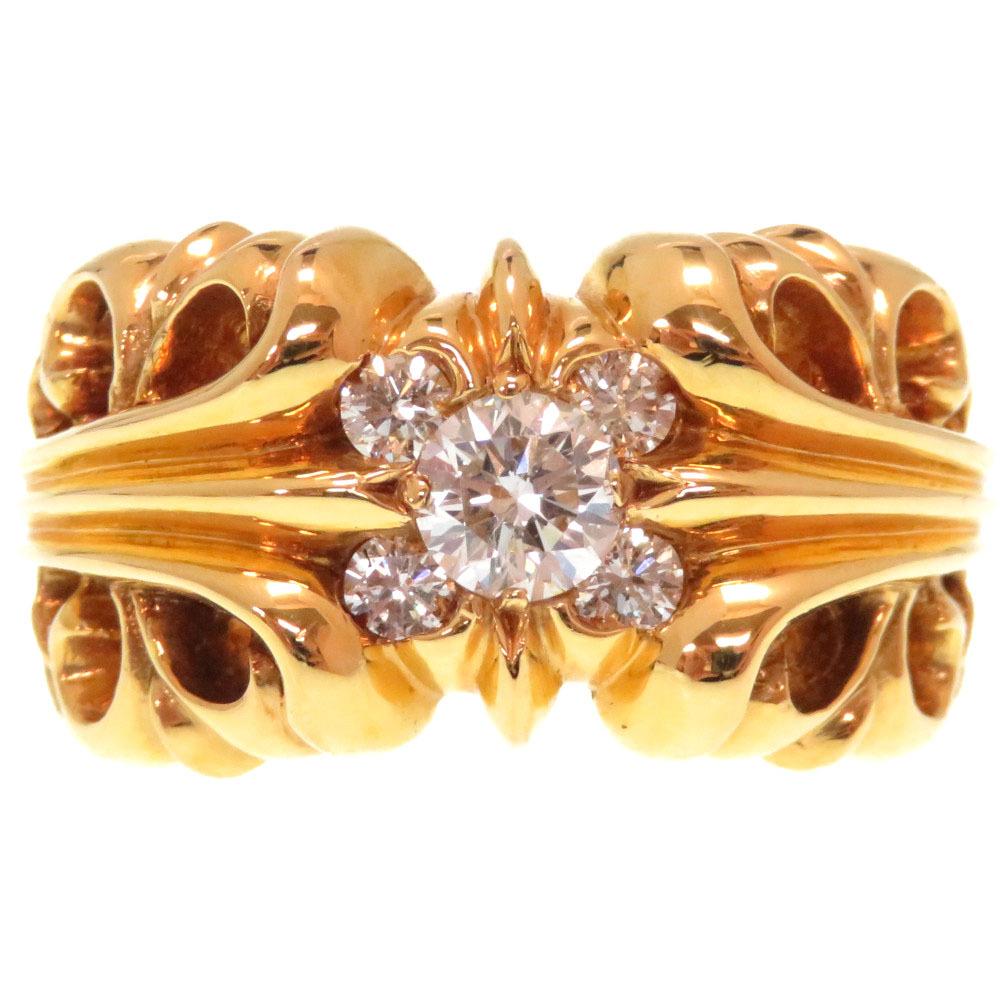 K&T 【中古】CHROME 新品同様 5DMND 指輪 RNG K&T 14号 HEARTS 0151 ダイヤモンド イエローゴールド K22YG メンズ 22K リング クロムハーツ 5P