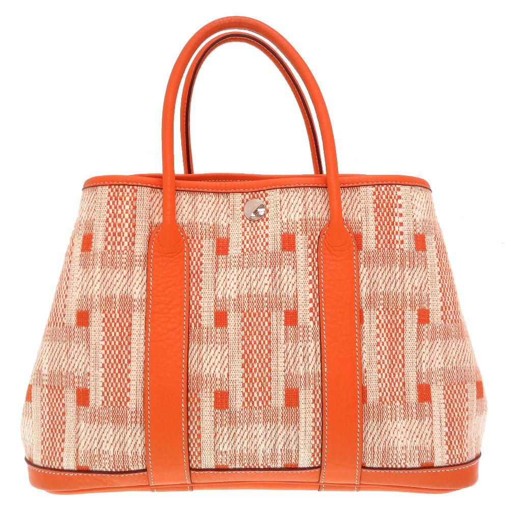 美品 エルメス ガーデンパーティTPM キャンバス オレンジ □M刻印 ハンドバッグ バッグ 0221 【中古】 HERMES