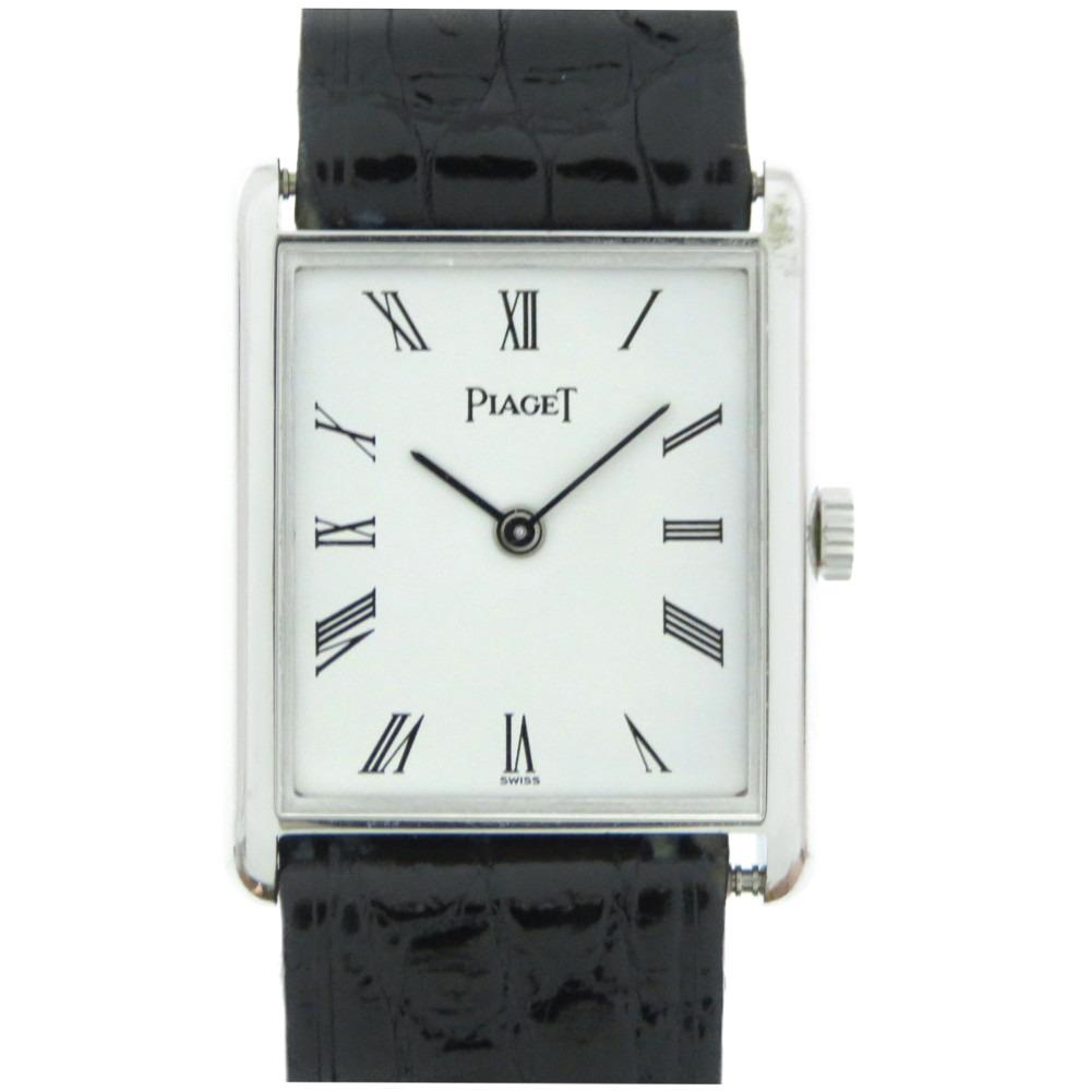 10%OFF 人気海外一番 美品 ピアジェ 金無垢 手巻き 腕時計 K18WG クロコダイル 0233 レディース PIAGET ホワイト 白文字盤 750 中古