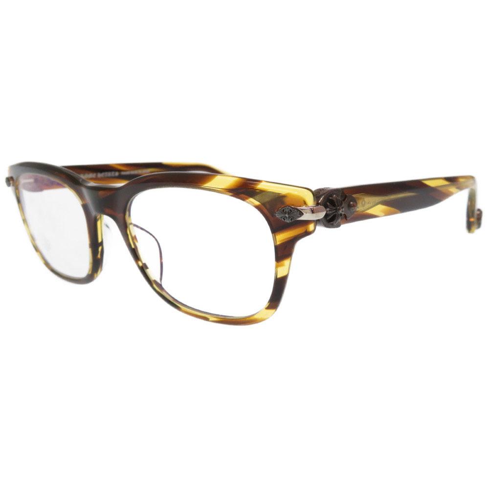 美品 クロムハーツ WELL STRUNG 低価格 CHプラス 眼鏡フレーム アイウエア サングラス シルバー925 CHROME HEARTS 中古 0267 茶 黄 引出物