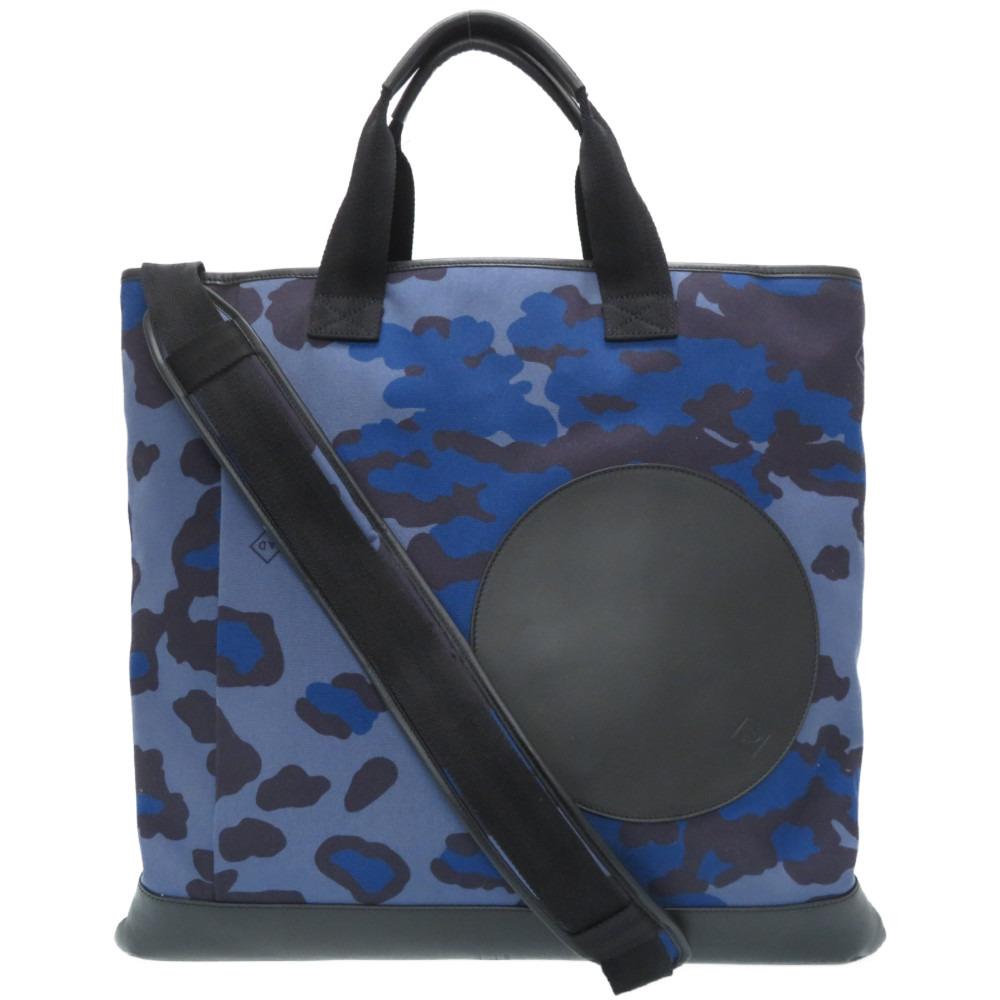 新品同様 ダンヒル 驚きの値段で ラディアル 2WAY トートバッグ ショルダーバッグ キャンバス 青 ブルー 中古 特別セール品 0014 カモフラージュ Dunhill レザー