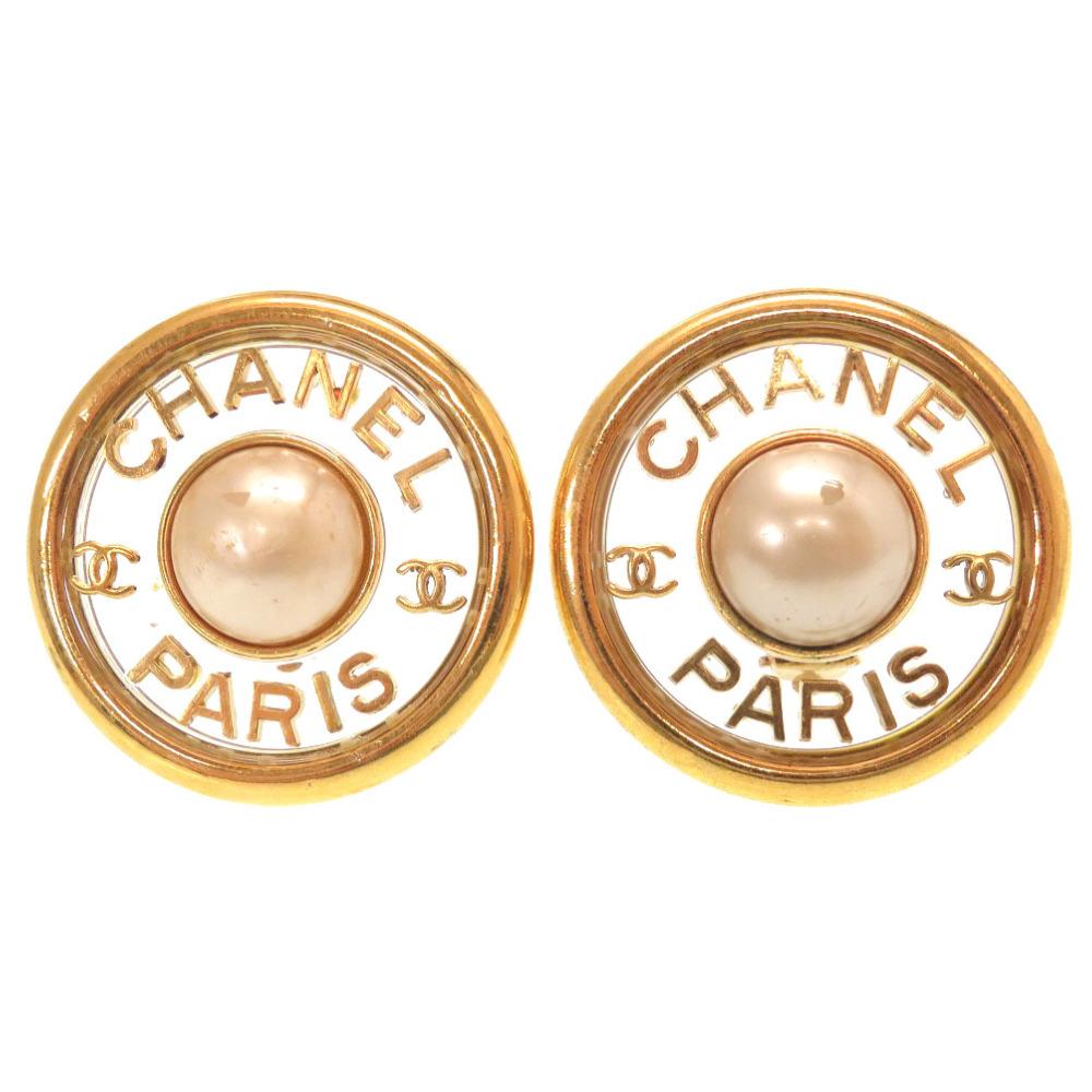シャネル ヴィンテージ CHANEL 数量は多 PARIS ココマーク 10%OFF フェイクパール ゴールド プラスチック 中古 イヤリング 0048 アクセサリー