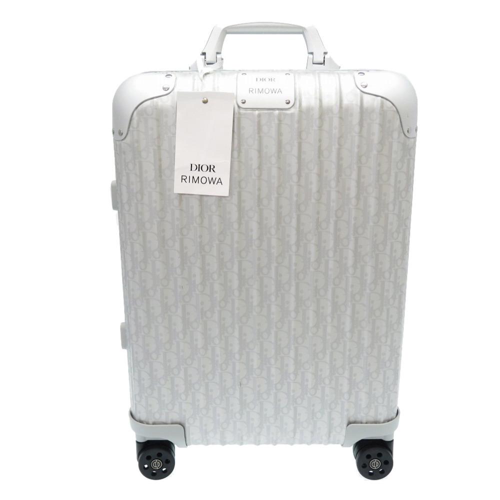高額売筋 世界の人気ブランド 新品同様 ディオール リモワ キャリーバッグ スーツケース アルミニウム 中古 シルバー 0051 RIMOWA Dior