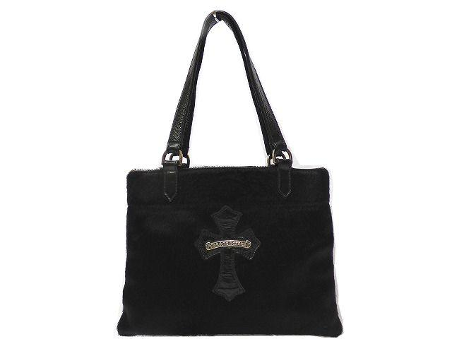 Eクロムハーツ センタークロス ハラコ ハンド バッグ 黒 鞄 0242【中古】 Chrome Hearts